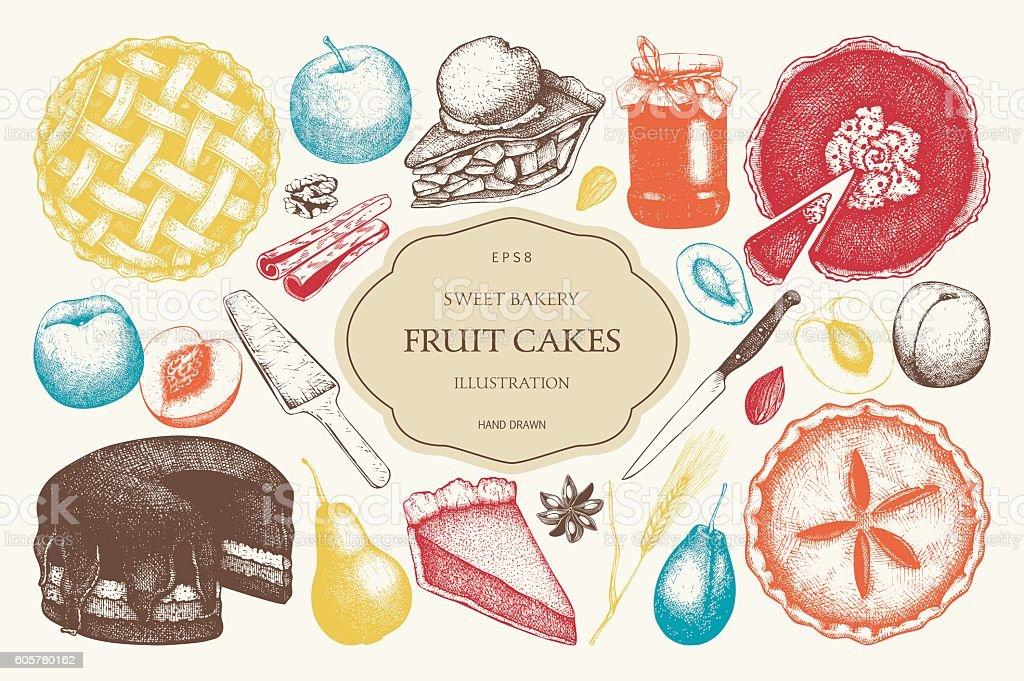 Vector set of ink hand drawn fruit desserts. vector art illustration