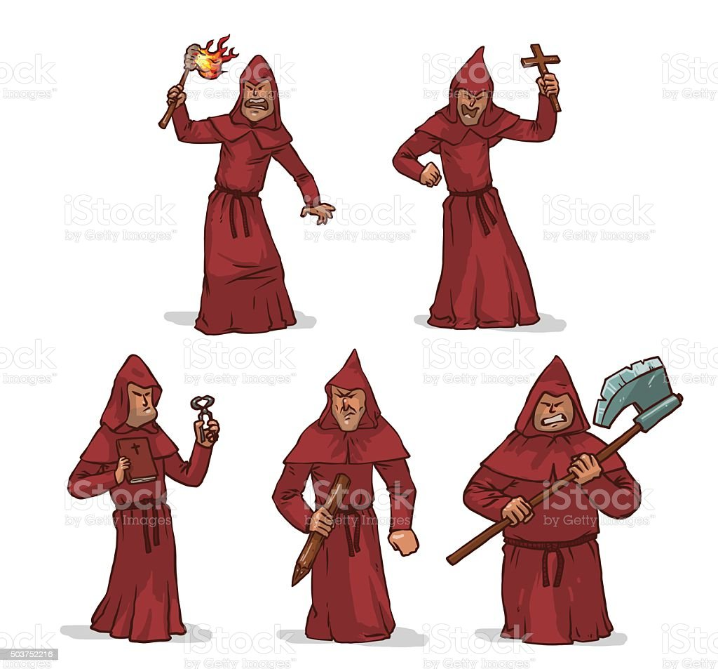 Vector set of inquisitors in red robes with hoods. vector art illustration