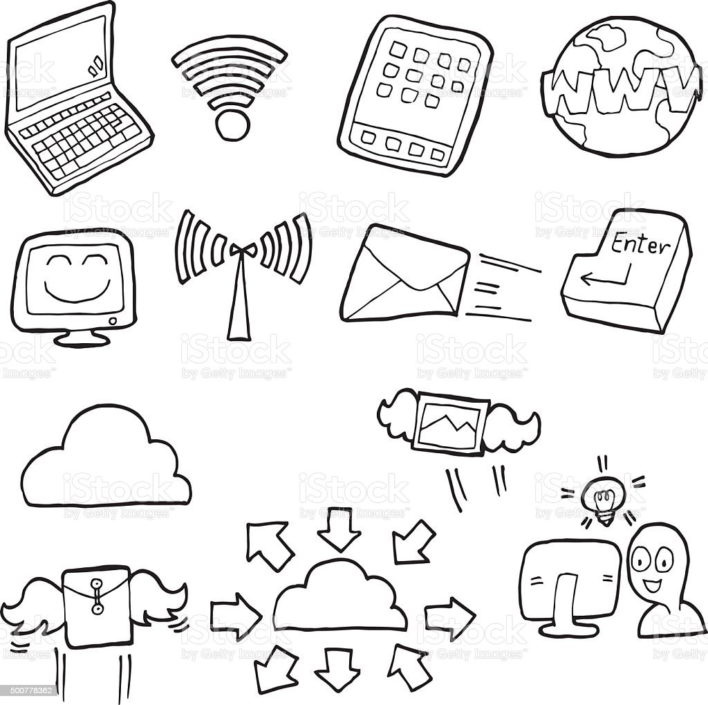 vector set of internet icon vector art illustration