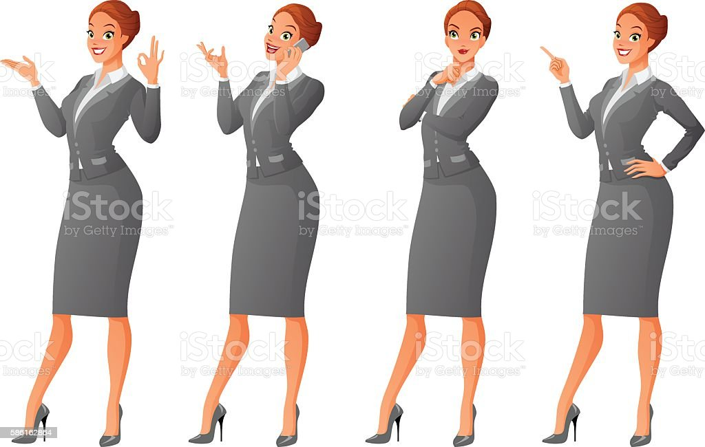 Vector set of isolated business women in different poses vector art illustration