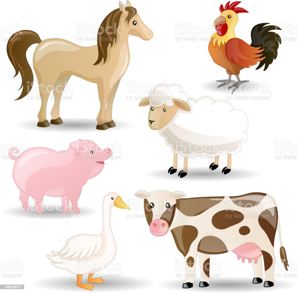 Vector Set of isolated Farm Animals royalty-free stock vector art