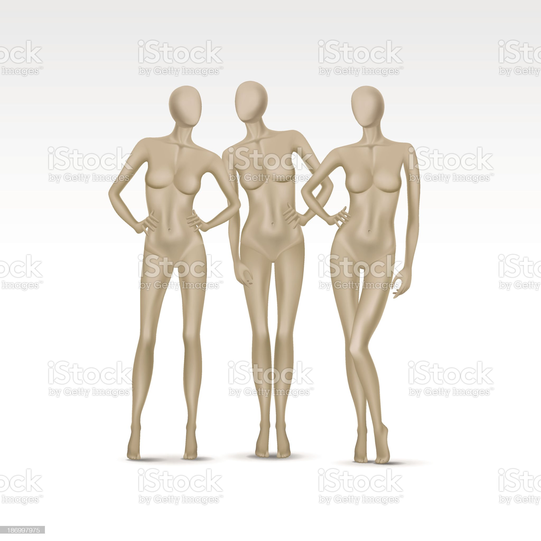 Vector Set of Isolated Female Mannequins royalty-free stock vector art