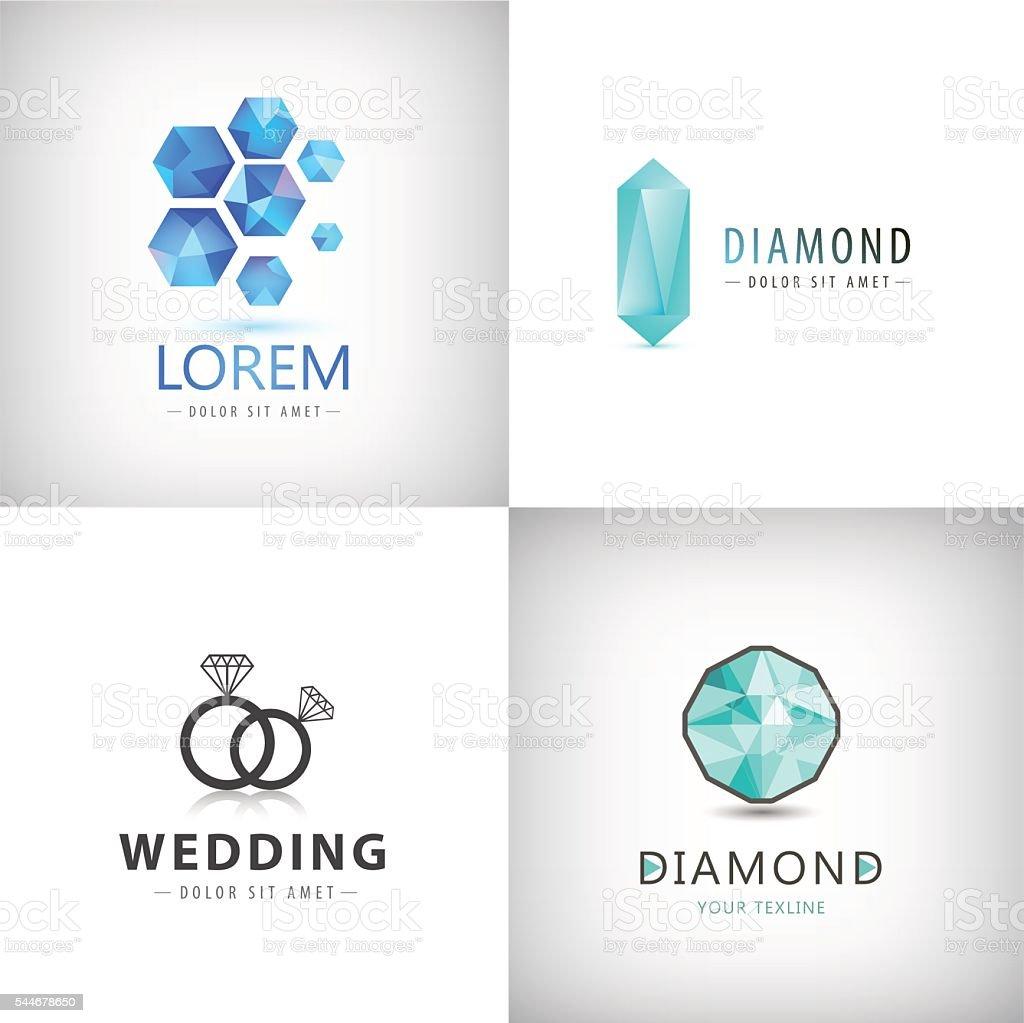 Vector set of jewelery logos, diamond illustration, crystal icons vector art illustration