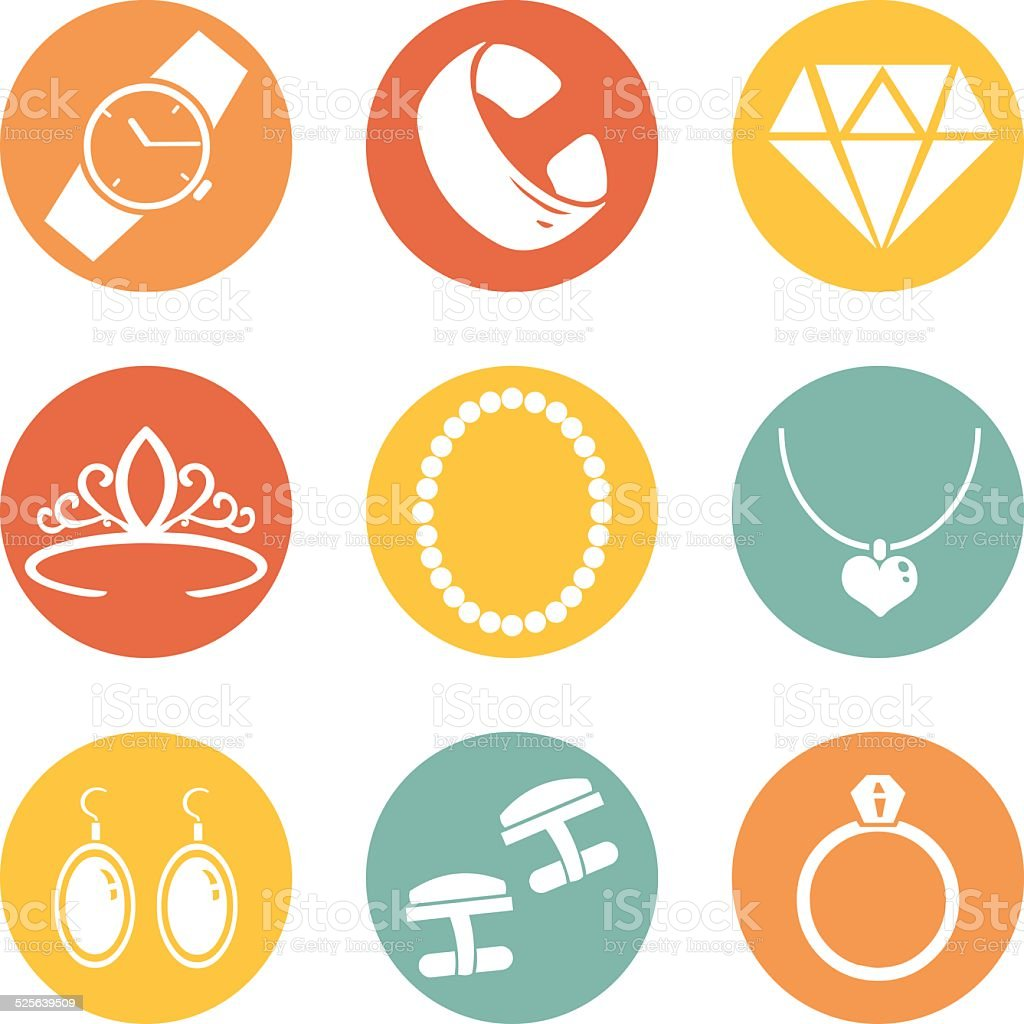 Vector Set of Jewellery Icons vector art illustration