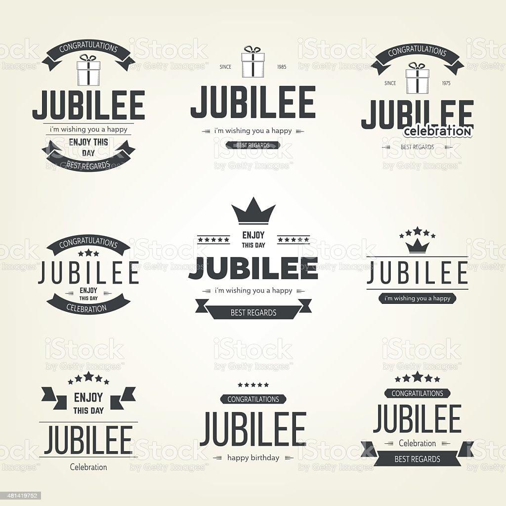 Vector set of jubilee logo, logotype. Design elements collection. vector art illustration