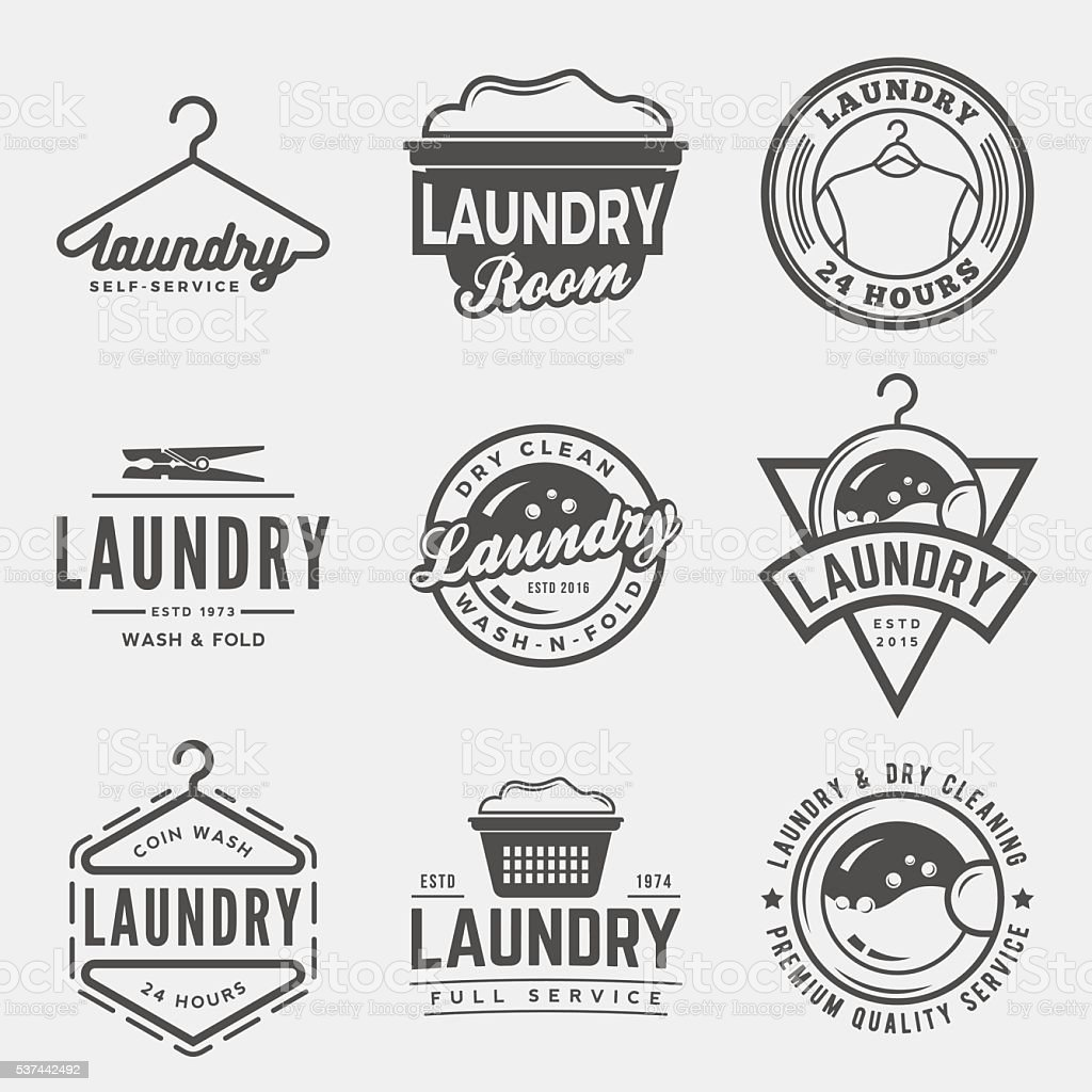 vector set of laundry logos, emblems and design elements vector art illustration