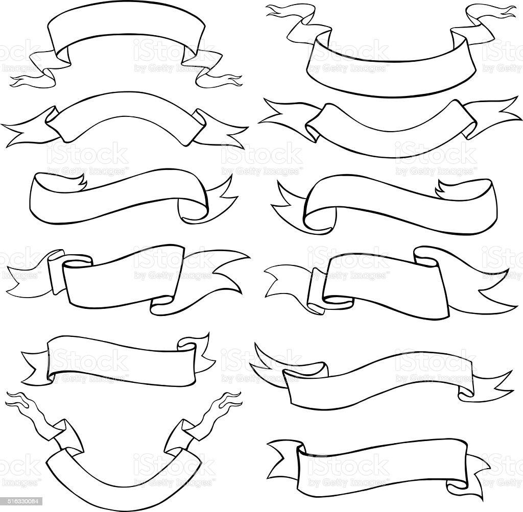 Vector Set of Line Art Ribbons vector art illustration