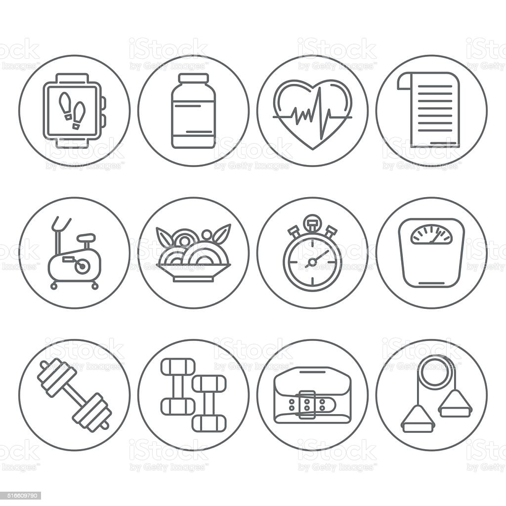 Vector set of line icons for personal trainer program. vector art illustration