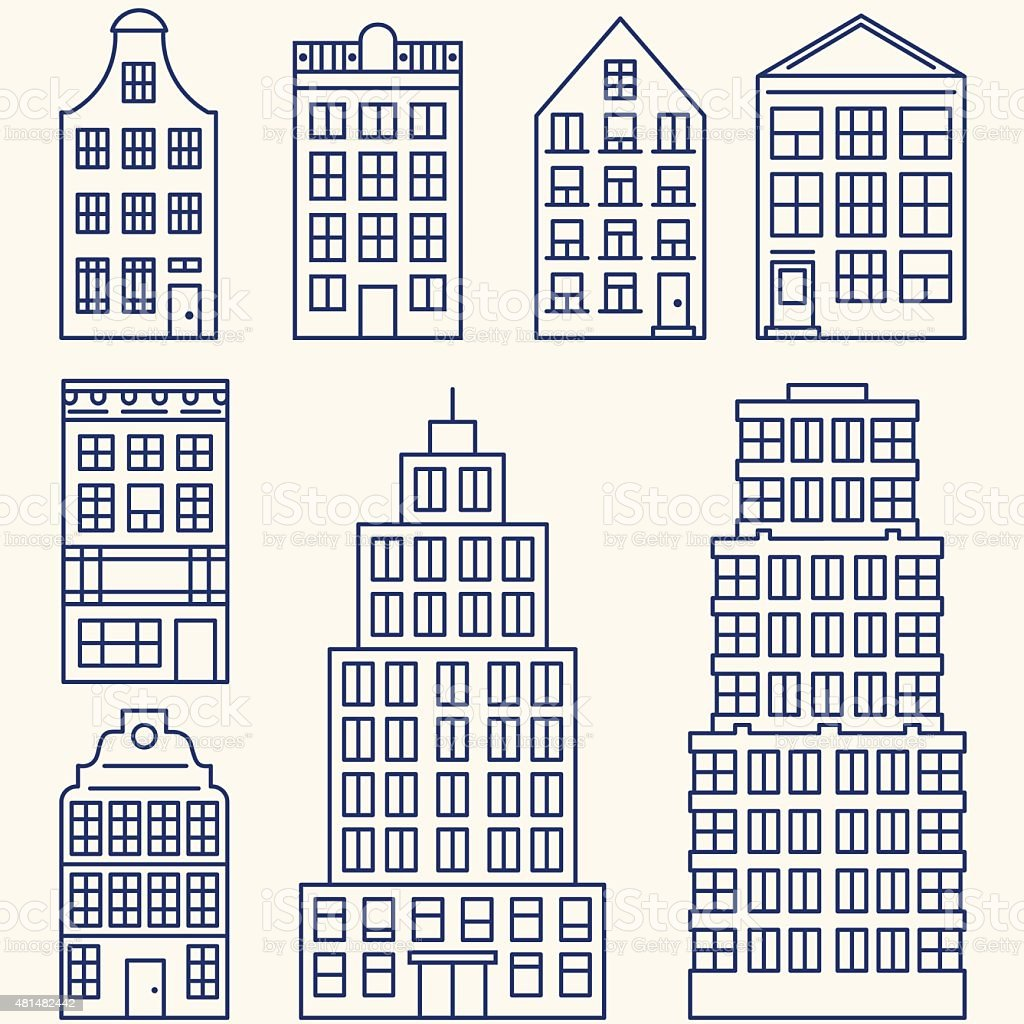 Vector set of linear buildings elements for design or infographics vector art illustration