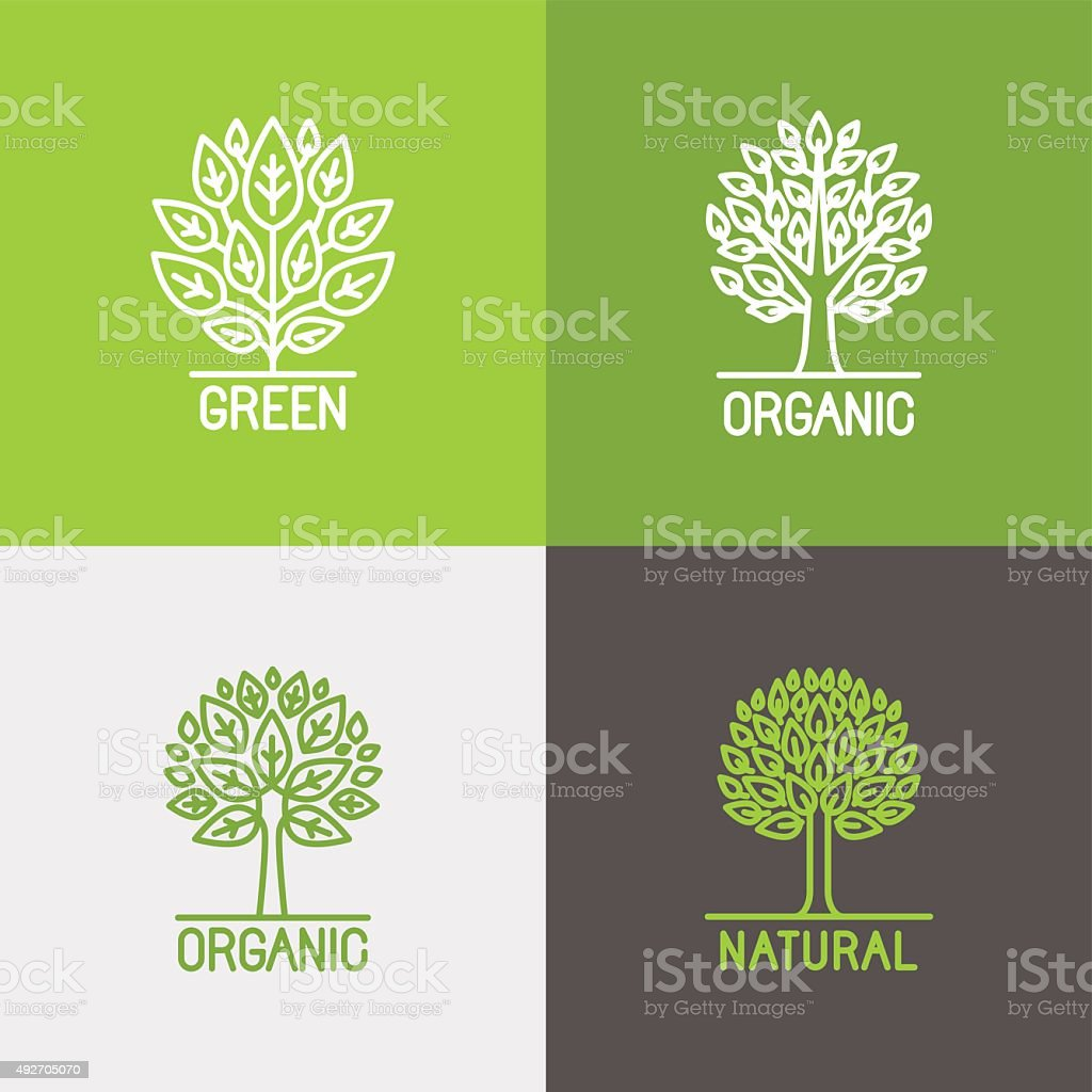 Vector set of linear icons and logo design elements vector art illustration