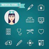 Vector set of linear medical icons. Ambulance, hospital, doctor, disease