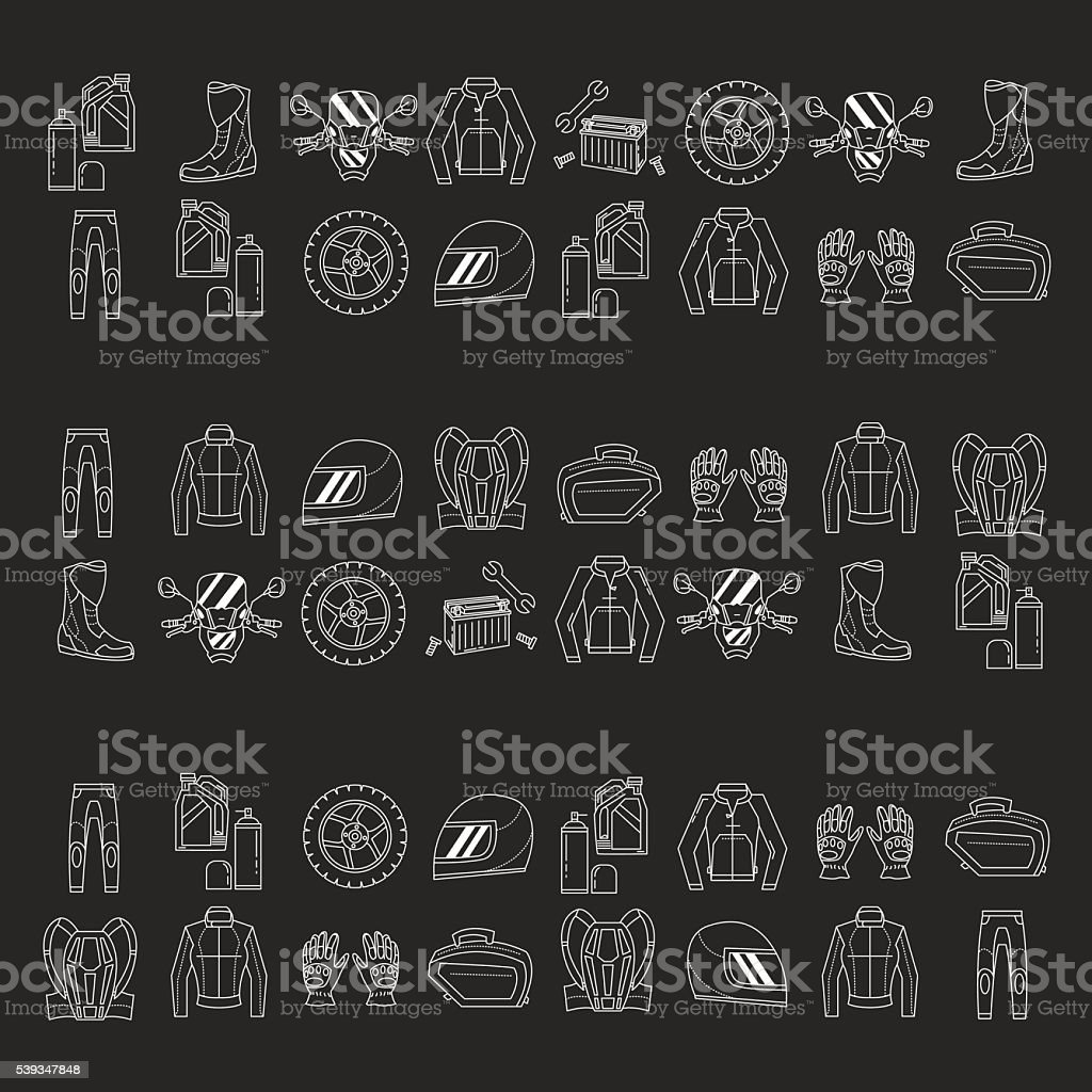 Vector set of linear motorcycle icons vector art illustration