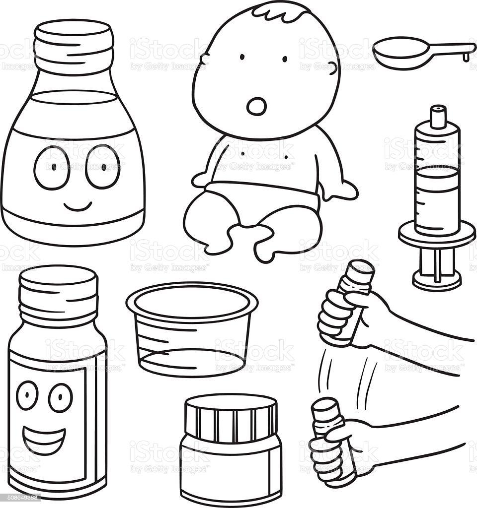 vector set of liquid medicine vector art illustration