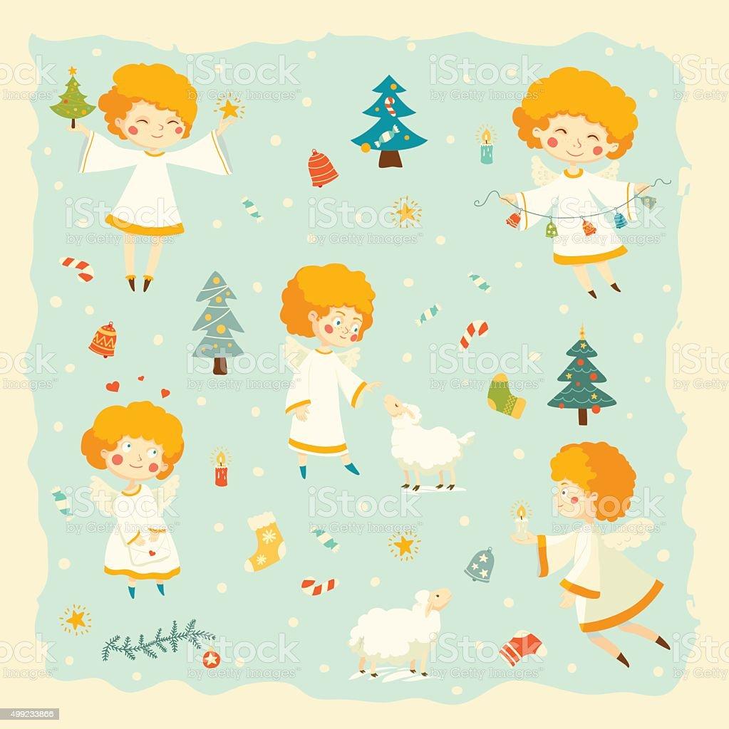 Vector set of little angels vector art illustration