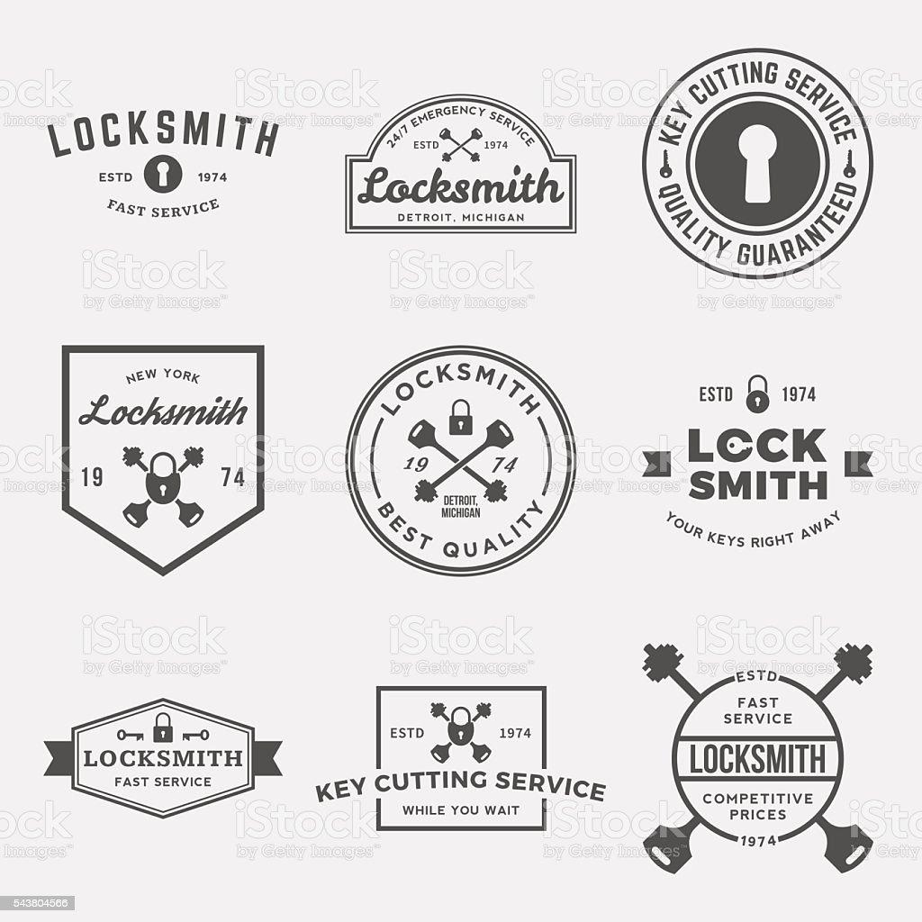 vector set of locksmith labels, badges and design elements vector art illustration