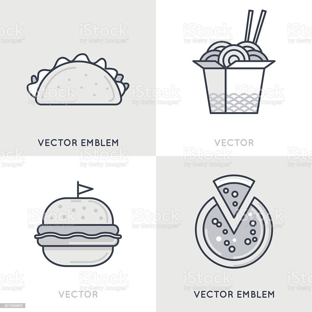 Vector set of logo design templates and emblems vector art illustration