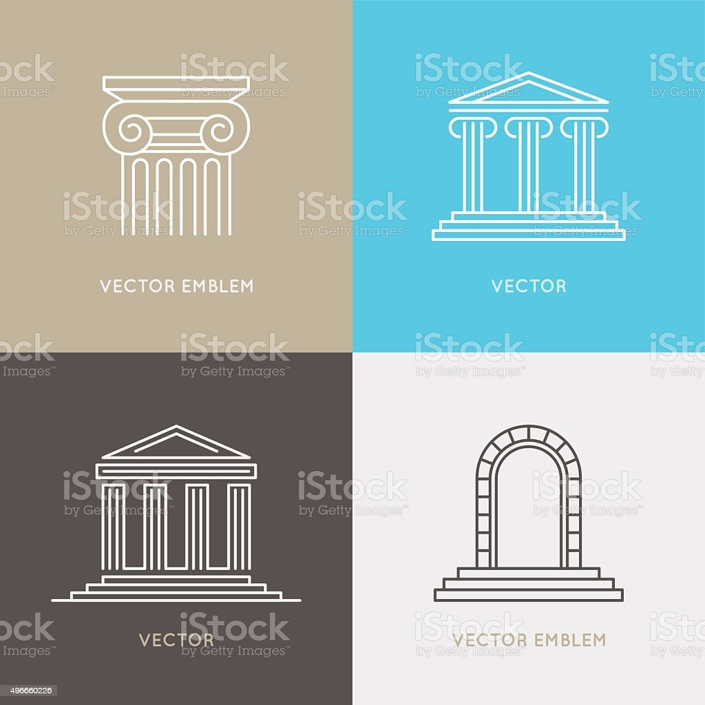 Vector set of logo design templates, emblems and icons vector art illustration