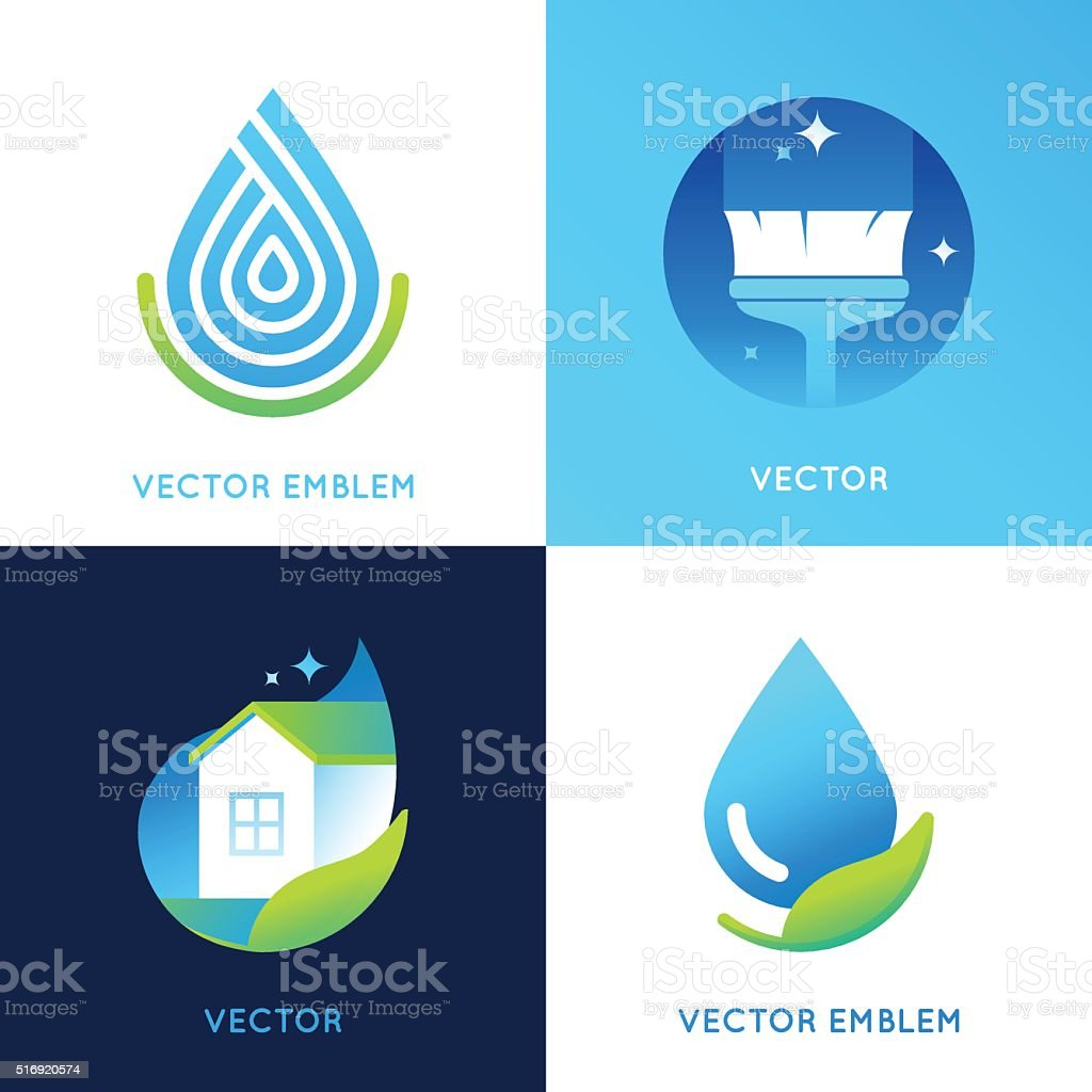 Vector set of logo design templates in bright gradient colors vector art illustration