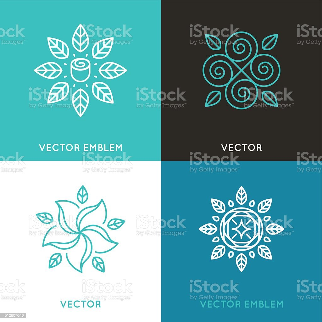 Vector set of logo design templates in trendy linear style vector art illustration