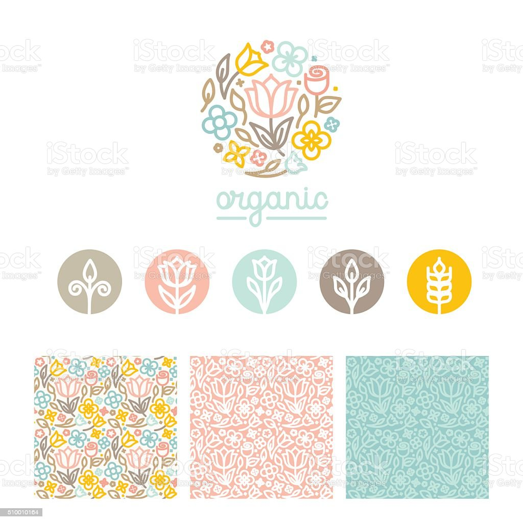 Vector set of logo design templates, seamless patterns and signs vector art illustration