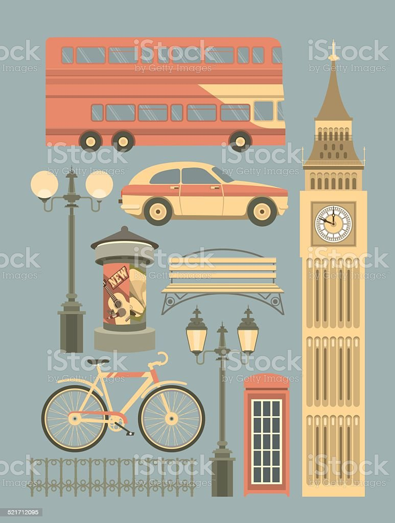 Vector Set of London Symbols vector art illustration