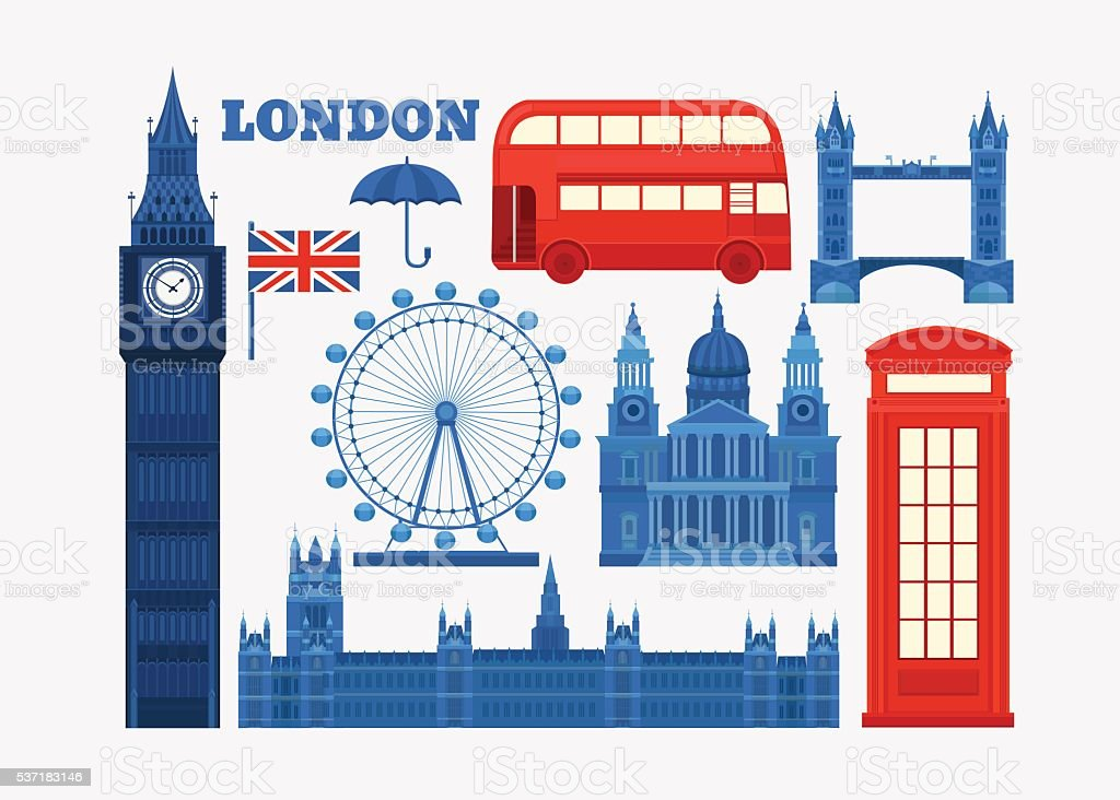 Vector set of London vector art illustration