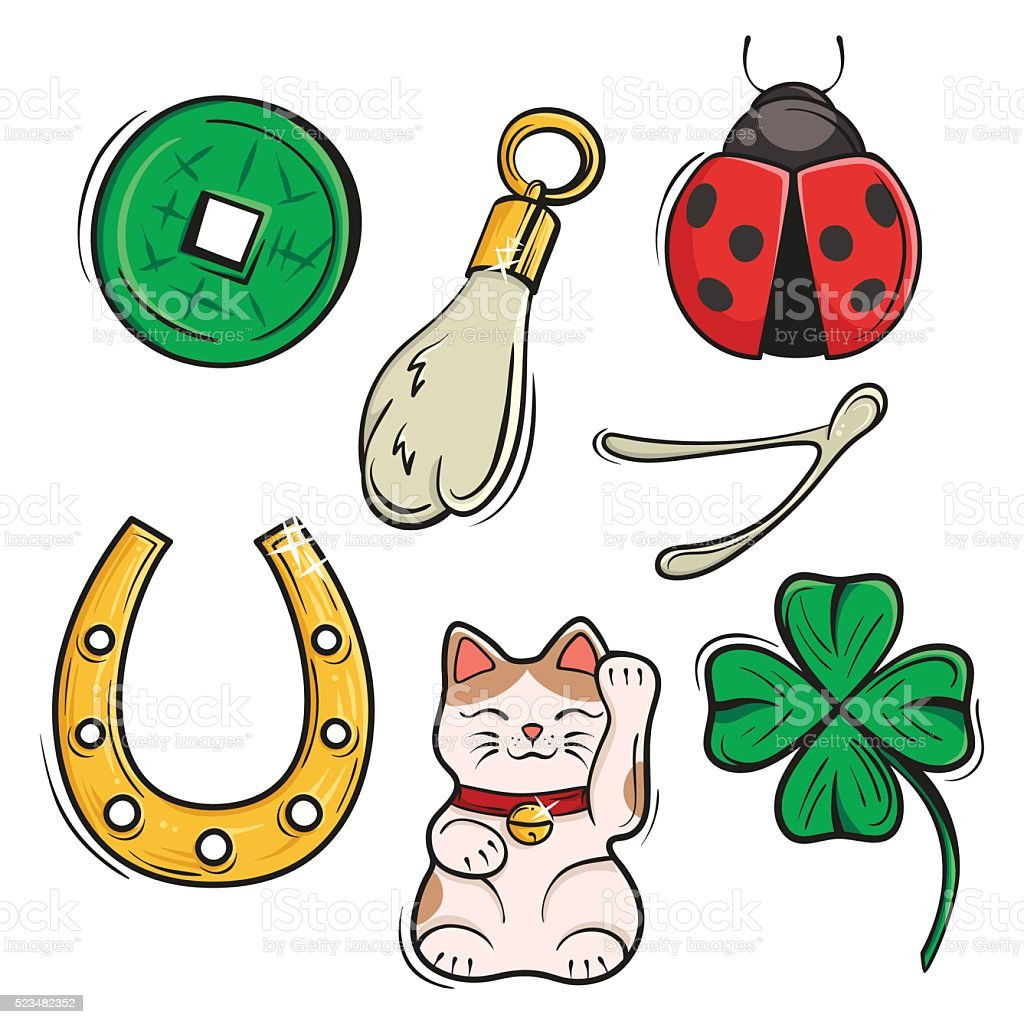 Vector set of Lucky Charms, Symbols and Talismans. vector art illustration