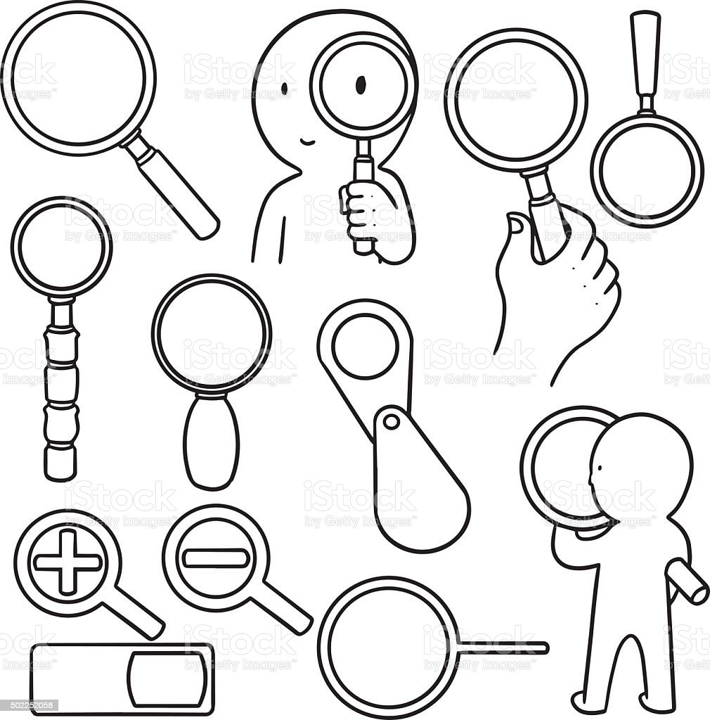 vector set of magnifying glass vector art illustration