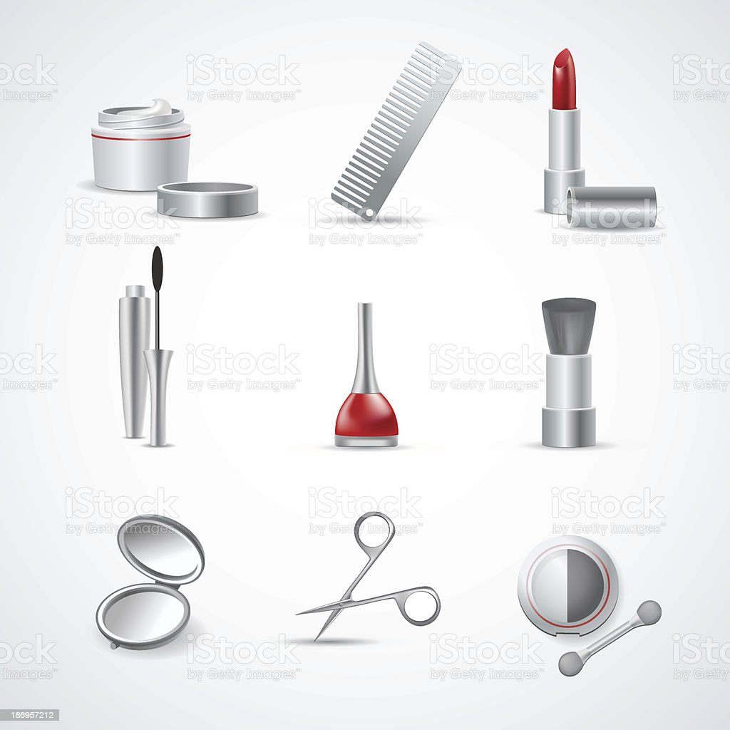 Vector Set of Makeup and Cosmetic Icons royalty-free stock vector art
