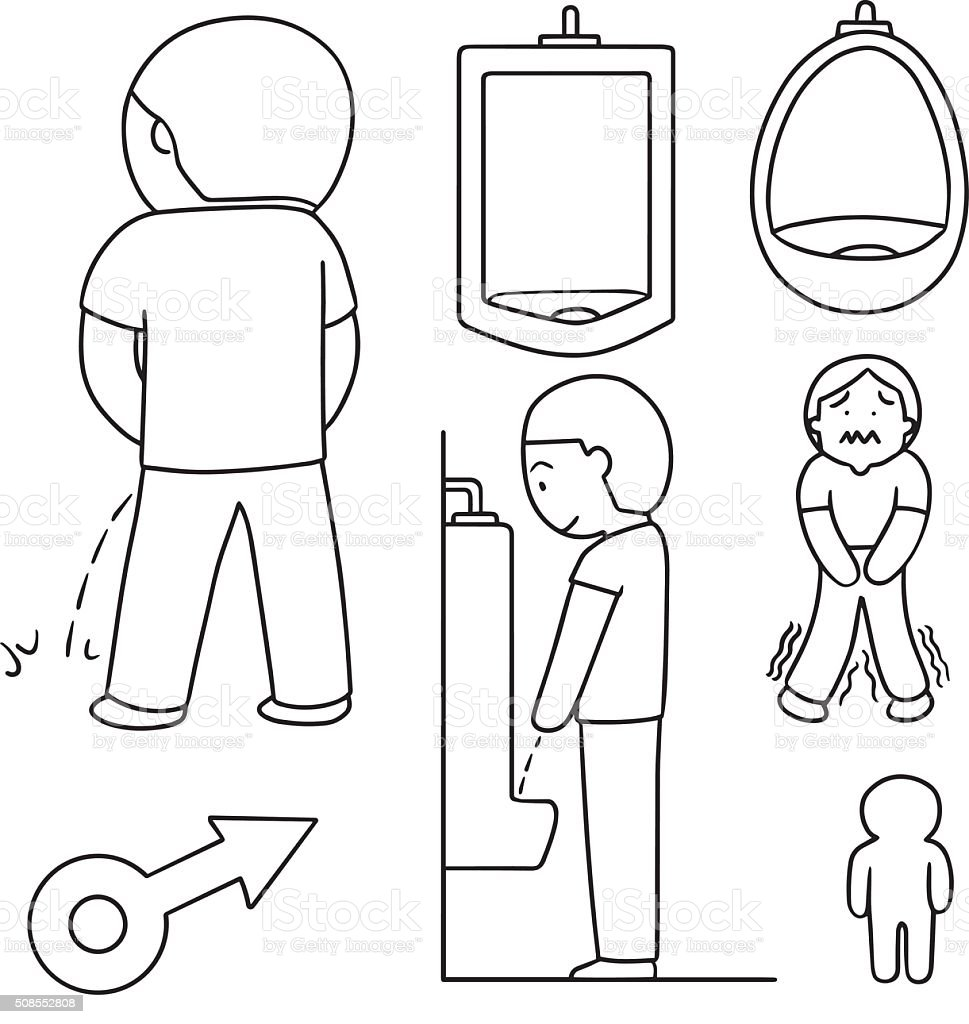 vector set of man peeing vector art illustration