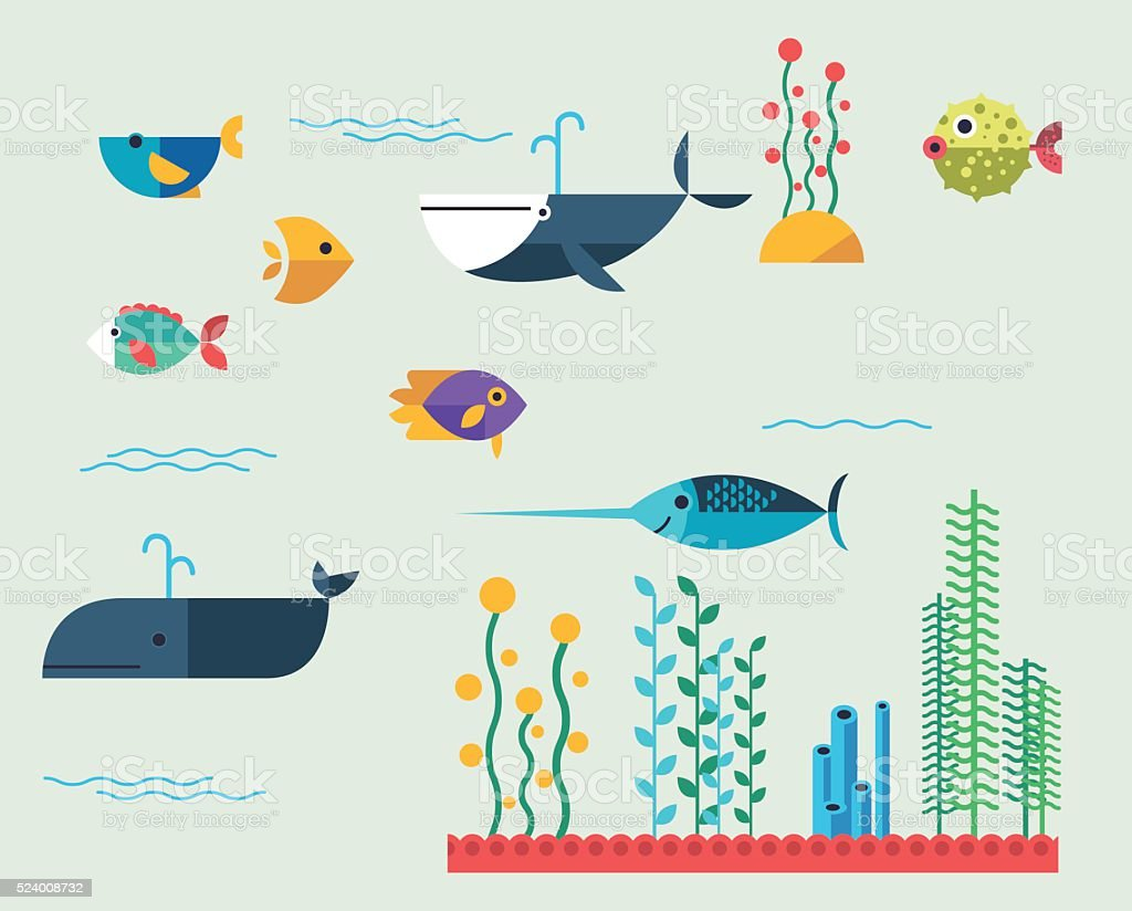 Vector set of marine animals , aquatic animals : whale , fish , algae. vector art illustration