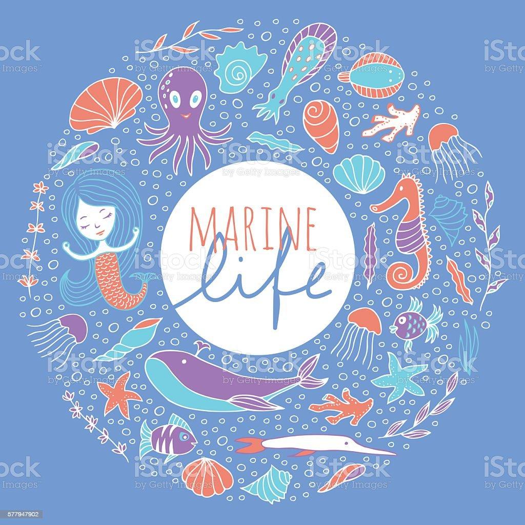 Vector set of marine life on a blue background. vector art illustration