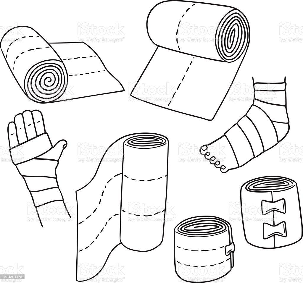 vector set of medical bandage vector art illustration