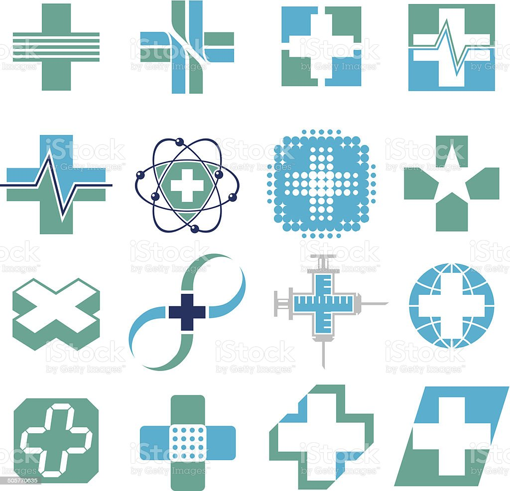 Vector Set of Medical Concept Icons vector art illustration
