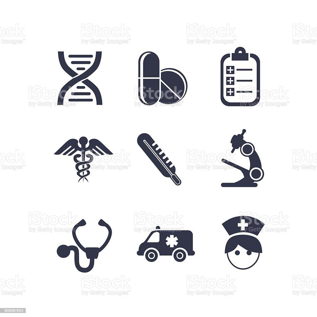 Vector set of medical icons vector art illustration