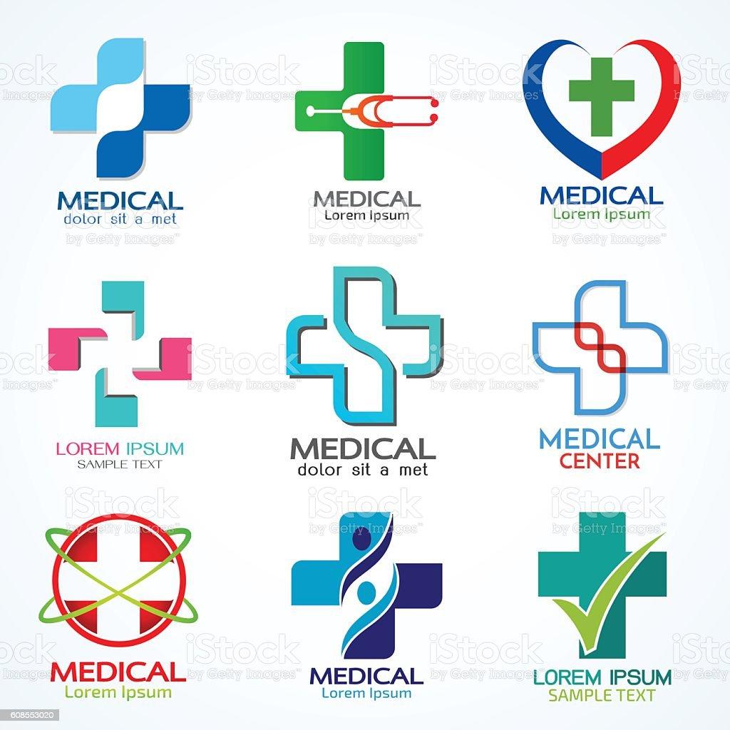 Vector set of medical logo template vector art illustration