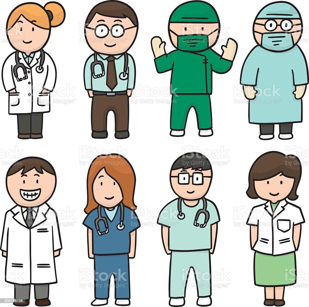 vector set of medical staff vector art illustration