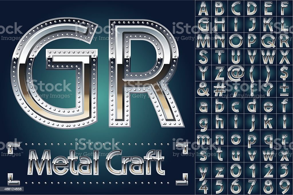 Vector set of metal aluminum alphabet with riveted border vector art illustration