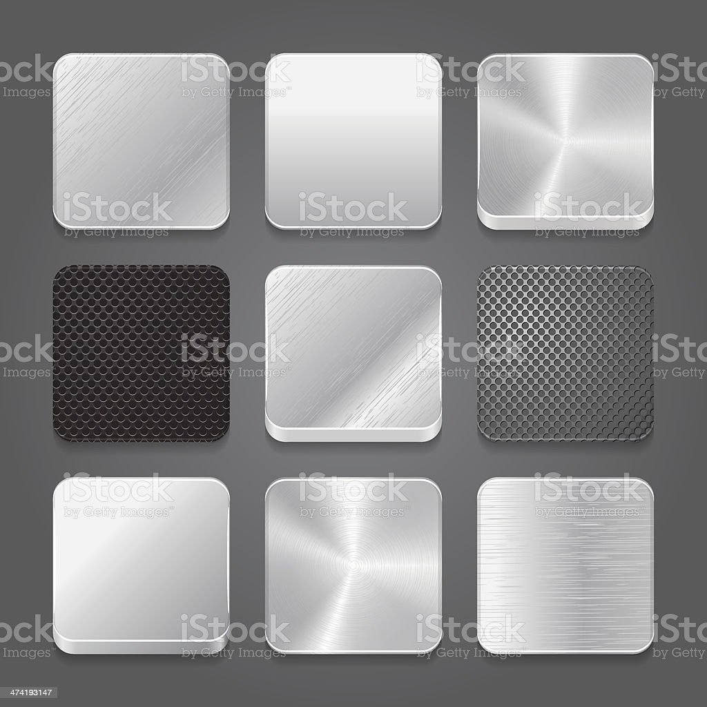 Vector set of metallic button icons vector art illustration