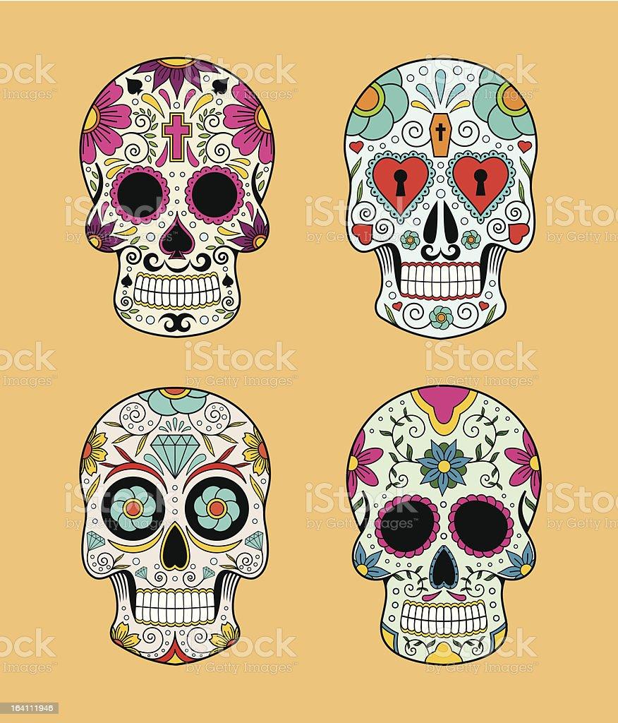 Vector set of Mexican skulls vector art illustration