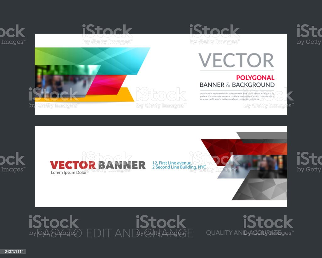 Vector set of modern horizontal website banners with many yellow vector art illustration