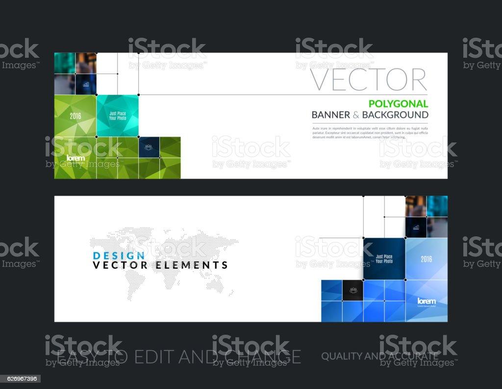 Vector set of modern horizontal website banners with rectangular vector art illustration