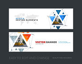 Vector set of modern horizontal website banners with triangular
