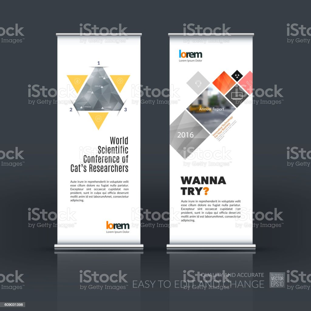Design for roll up banner - Vector Set Of Modern Roll Up Banner Stand Design With Royalty Free Stock Vector Art