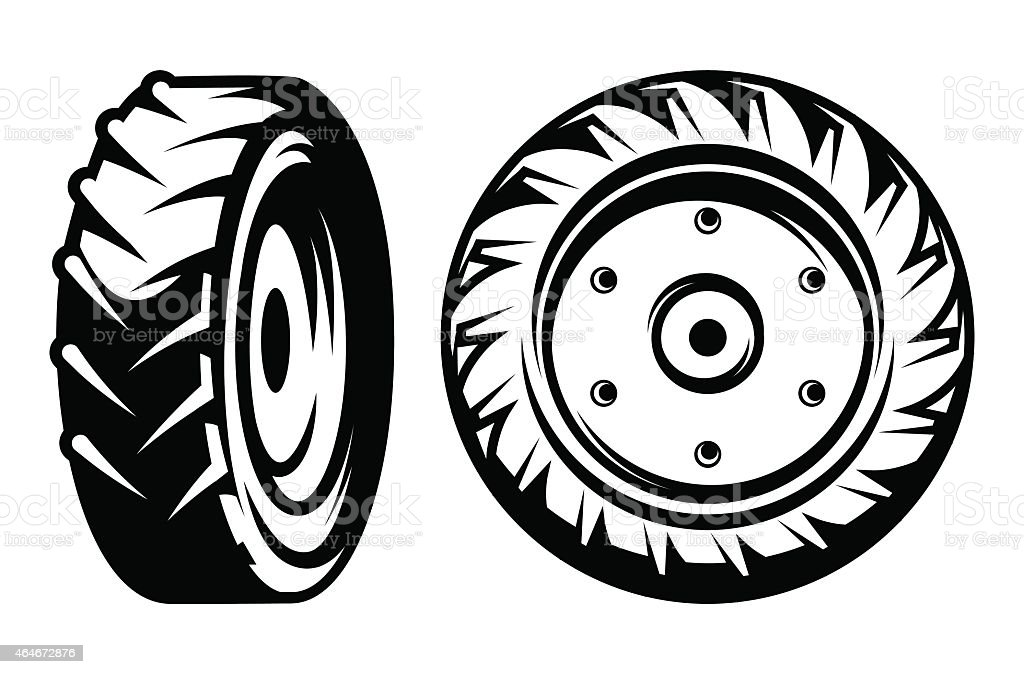 vector set of monochromatic tractor wheels different kinds vector art illustration