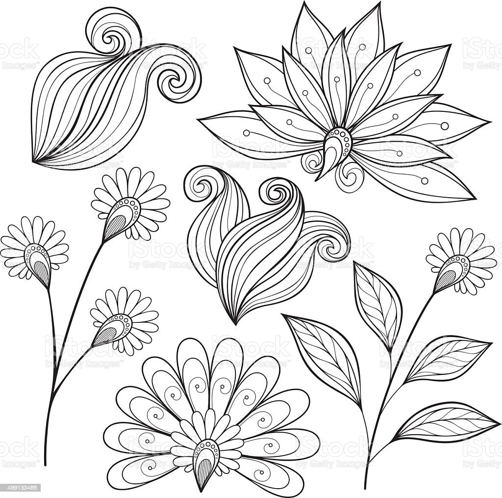 Vector Set of Monochrome Contour Flowers and Leaves vector art illustration