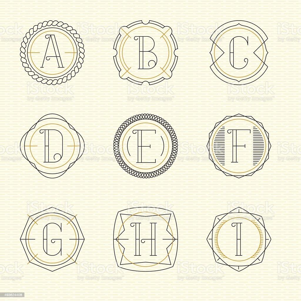 Vector set of monogram vector art illustration