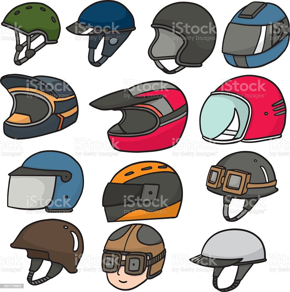 vector set of motorcycle helmet vector art illustration