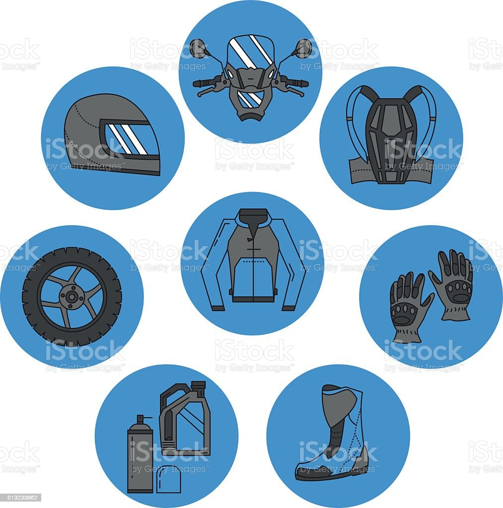 Vector set of motorcycle icons vector art illustration