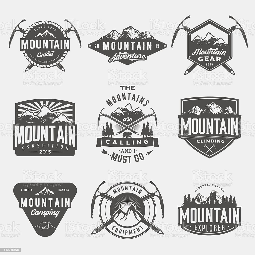 vector set of mountain exploration vintage logos, emblems, silho vector art illustration